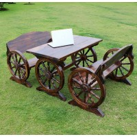 Outdoor Anti-corrosive wooden tables and chairs in wheels style