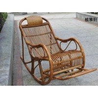 Rattan rocking chair with pillow and massager