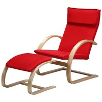 Wooden lounge chair with ottoman