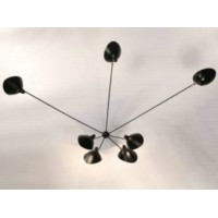 Serge Mouille Style Seven Arms Pendant Ceiling Lamp of Spread