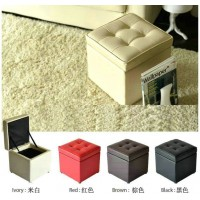 Cubic Leather ottoman with storage
