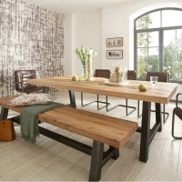 Solid wood dining table Long Rectangular chair and table combination