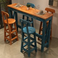 Mediterranean solid wood bar tables and chairs furniture
