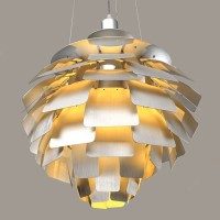 Artichoke Pendant Lamp Aluminium Leaves Suspention Lighting of 108cm in diameter