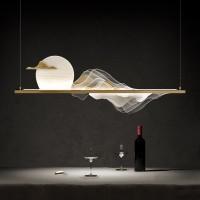 Glass half ball double layers chandelier modern pendant lamp