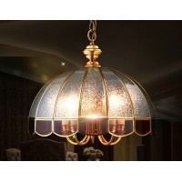 All copper chandelier half glass ball lamp
