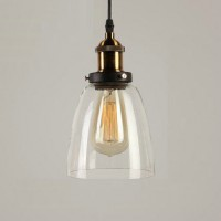 Vintage iron and glass pendant lamp style 4