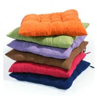 Sueded cushion with straps