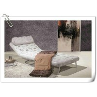Folding fabric sofa bed with stainless round leg