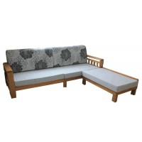 Wooden Sofa with Chaise