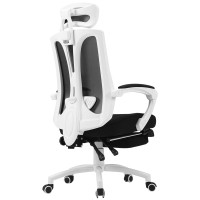 Black and white computer chair household mesh chair with lying function