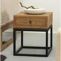 Elm side table with drawer
