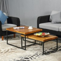 Retro solid wood rectangular coffee table
