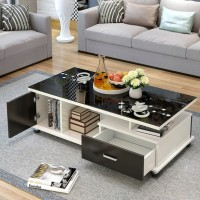 Coffee table simple modern tempered glass