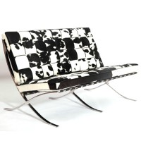 Cowhide Barcelona style Loveseat Two Seaters Sofa