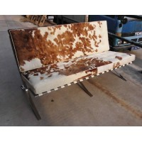 Pony Skin Leather Barcelona Sofa Cushions with no piping