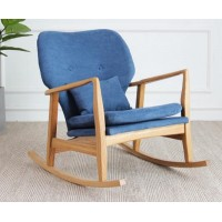 Oak and Linen Rocking Chair