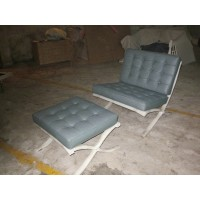 Grey Green Barcelona Chair With Ottoman