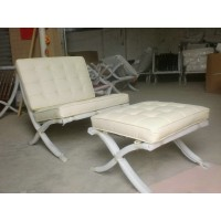 Off White Barcelona Chair with Ottoman