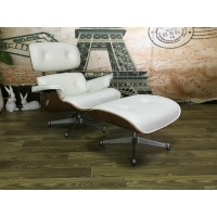 Eames style lounge chair and ottoman of tall version in off white with walnut wood
