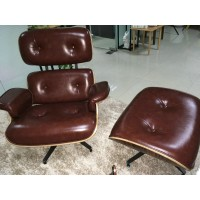 Coffee Brown Aniline leather Eames style lounge chair and ottoman of Taller Version with tigerwood