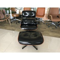 Black Aniline leather Eames style lounge chair and ottoman of Taller Version with tigerwood