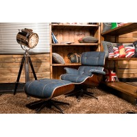Eames Style Lounge Chair and Ottoman in Jean Fabric