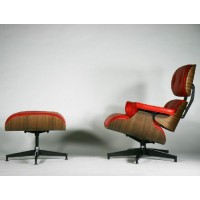 Eames style Lounge Chair and Ottoman in Italian Leather
