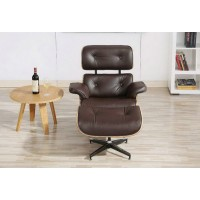 Coffee color Eames style lounge chair and ottoman in Italian leather and tigerwood