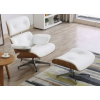 White Eames style lounge chair and ottoman in Italian leather and Chestnut