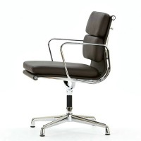 Eames Style office Soft Pad chair fix leg without wheel,made in PVC leather