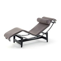 Le Corbusier Style Chaise Lounge Chair LC4 in Ponyskin Leather