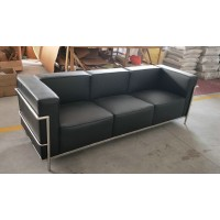 Le Corbusier Style sofa of 3 seats, loveseat LC3