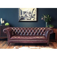 Three seaters of Chesterfield Tufted Luxury Sofa in Faux Wax Leather