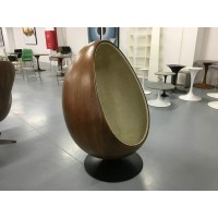 Pod egg chair in aluminium shell