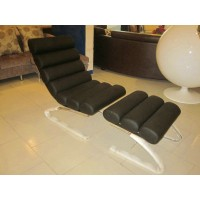 Mies MR Half Chaise Lounge Chair with Ottoman,style 3,made in PU leather or fabric