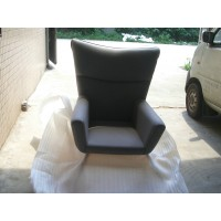 Hans J Wegner style wing chair in gray fabric