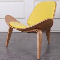 Hans Wegner style Three Legged Shell Chair in Yellow PU leather