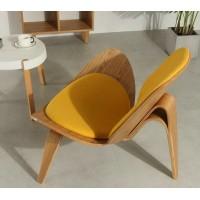 Hans Wegner style Three Legged Shell Chair in Yellow Fabric