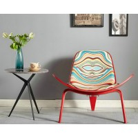 Hans Wegner style Three Legged Shell Chair in Print Fabric