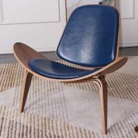 Hans Wegner style Three Legged Shell Chair in Blue Aniline Leather