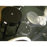 Kartell Style Ghost Bar Stool,Large size in solid black color