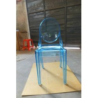 Ghost chair without arms in transparent blue color