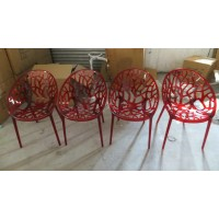 Kartell Style Ghost Tree Chair in red color