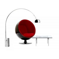 Ball chair in black shell with red fabric interior and a barcelona table plus a free arco lamp as a gift