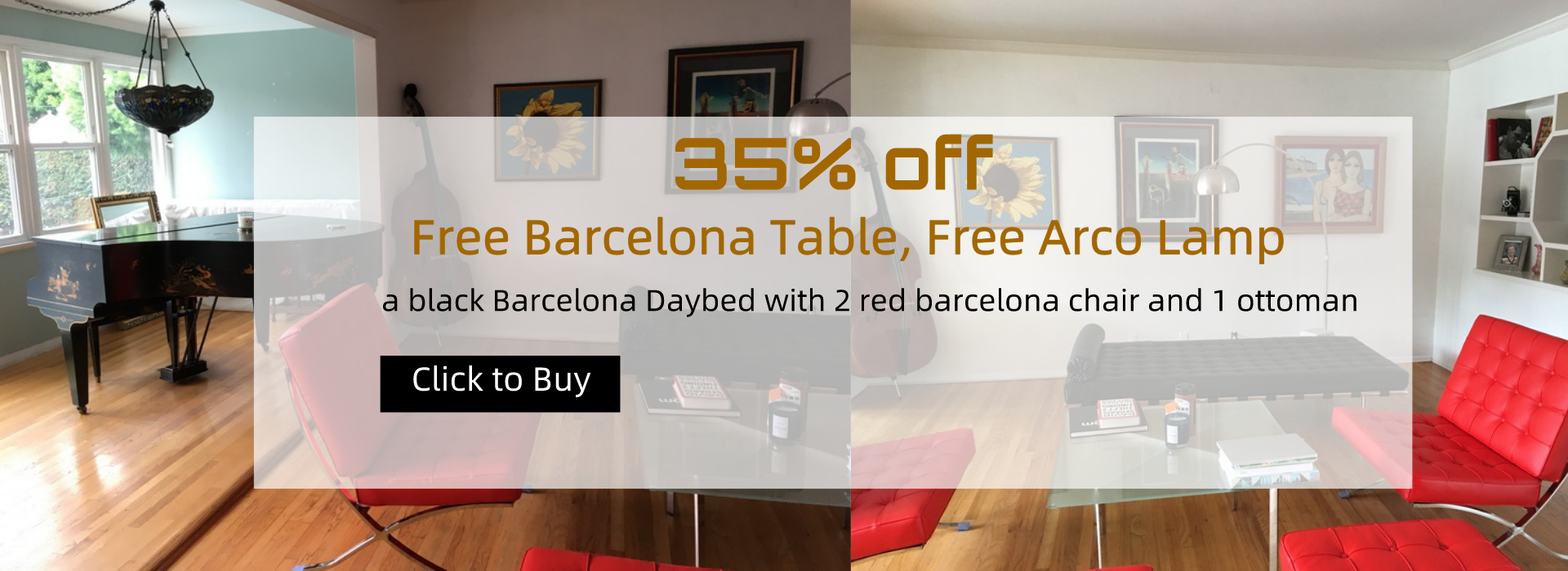 black Barcelona Daybed with 2 red barcelona style chair and one